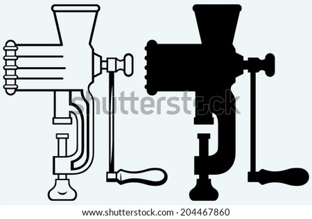 The old manual meat grinder. Image isolated on blue background - stock vector