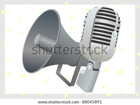 The old radio microphone and loudspeaker. The illustration on a white background.