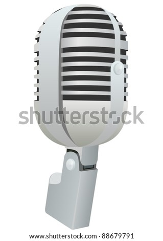 The old radio microphone. The illustration on a white background.