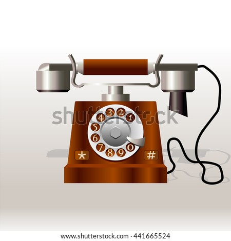 The old telephone with rotary dial vector