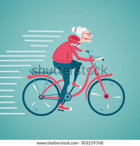 The old woman is  riding a bicycle. Cartoon vector illustration. Character design. - stock vector