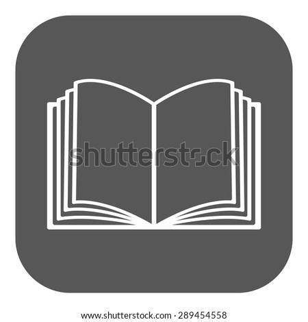 The open book icon. Manual and tutorial, instruction symbol. Flat Vector illustration. Button