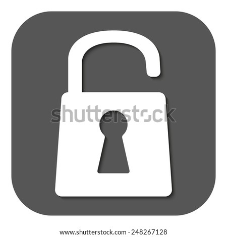 The open lock icon. Lock symbol. Flat Vector illustration. Button - stock vector