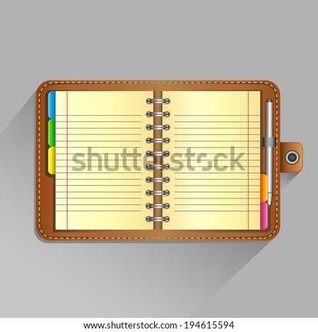 The open organizer with pen and top view shadow on the gray background - stock vector