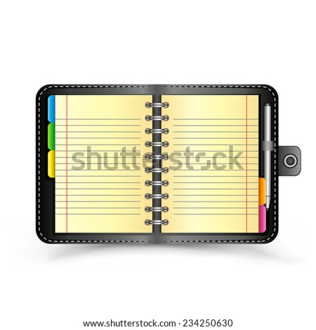 The open organizer with pen and top view shadow on the white background - stock vector