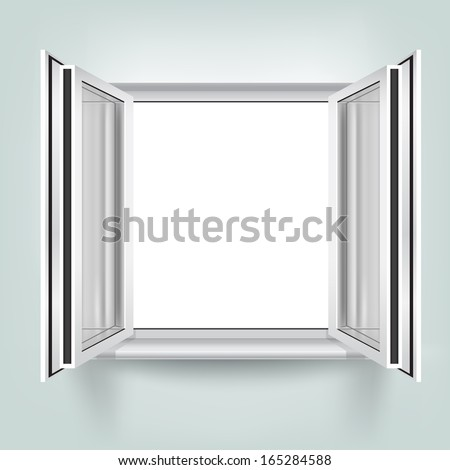 The opened plastic window on the mesh wall background - stock vector