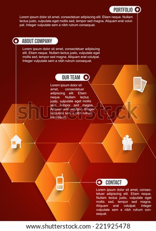 The orange abstraction cubic informative background with icons for companies. Can be used for brochure, poster, flyer or website. - stock vector