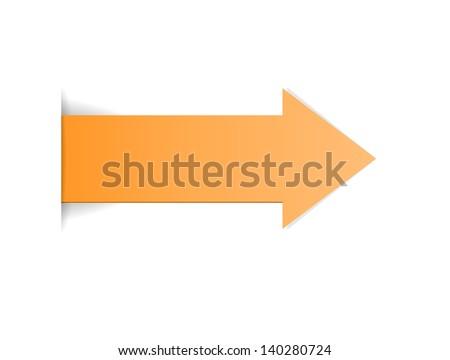 The orange arrow with hidden edge effect / The orange arrow / The arrow - stock vector