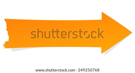 The orange arrow with tattered edge / The tattered arrow / The arrow - stock vector