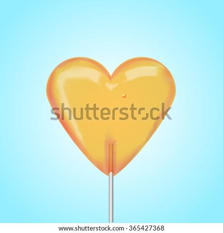 The orange heart Lollipop - stock vector