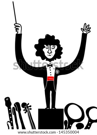 The orchestra director - stock vector
