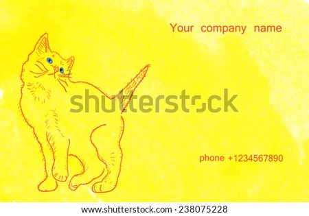 the original business card with a cat made with watercolors - stock vector