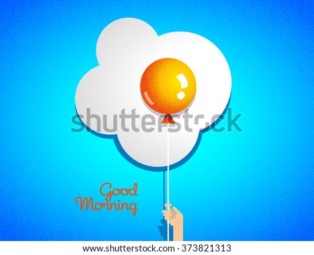 The original creative flat banner advertising breakfast, fried eggs illustration balloon in hand, good morning, wholesome healthy food