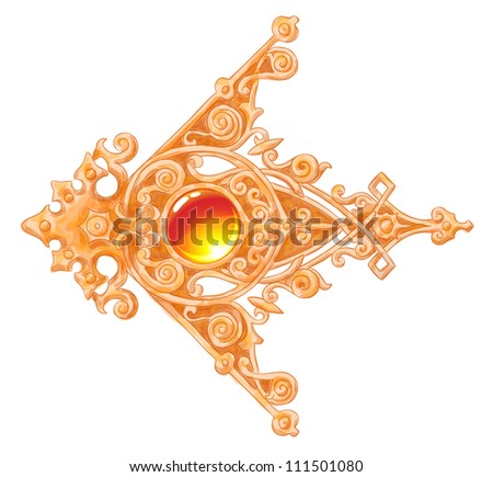 The ornated gold vintage corner with a cabochon. Imitation of water color drawing. Vector illustration. - stock vector