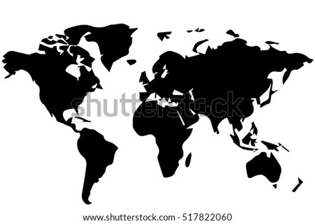 the outline drawing of a world map black and white vector illustration