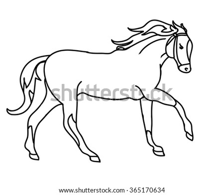 The outline of a galloping horse