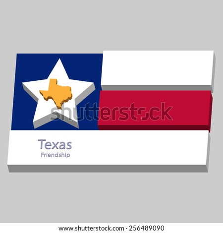 the outline of the state of Texas and its motto is depicted on the background of a small part of the flag of the United States of America - stock vector