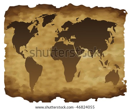 the outline world map on a old paper - stock vector