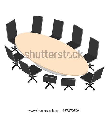 Oval Conference Table Black Office Chairs Stock Vector - Conference room table and chairs clip art