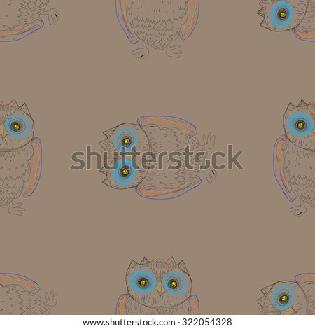The owl pattern on pastel background.