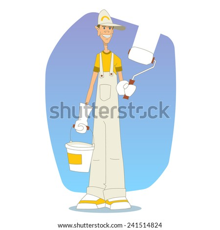 The painter or decorator standing with a roller and a bucket of a paint  - stock vector