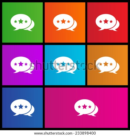 The pair of speech bubbles with stars. Metro style - stock vector