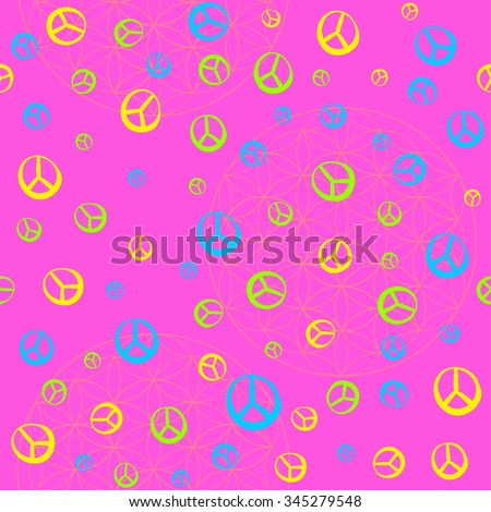 The pattern in the style of Hippie - 60's 70's. Psychedelic texture, bright colors. Fun pattern for children and adults. Simple pattern - stock vector