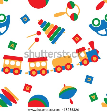 The pattern of children toys/ Children wooden toys for children. The machine, dices with letters, whirligig, pyramid, rattle, ball and a big wooden train. All that love to play little boys and girls
