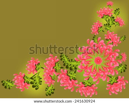 The pattern of pink flowers and leaves. EPS10 vector illustration. - stock vector