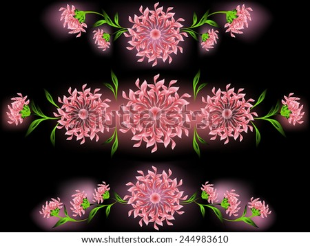 The pattern of pink flowers and leaves on a black base. EPS10 vector illustration.  - stock vector