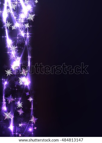 The pattern of snowflakes on a dark background