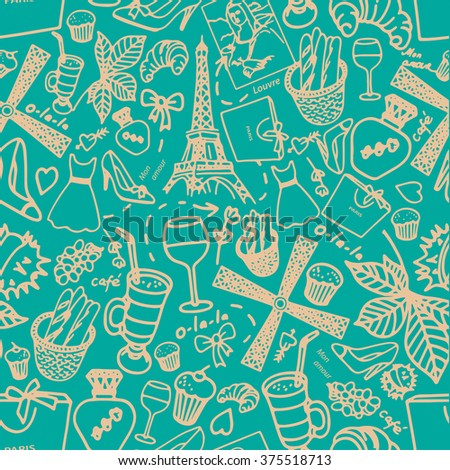 "The pattern on the theme of ""Paris"". Seamless pattern with landmarks of Paris. Turquoise pattern with the Eiffel Tower"