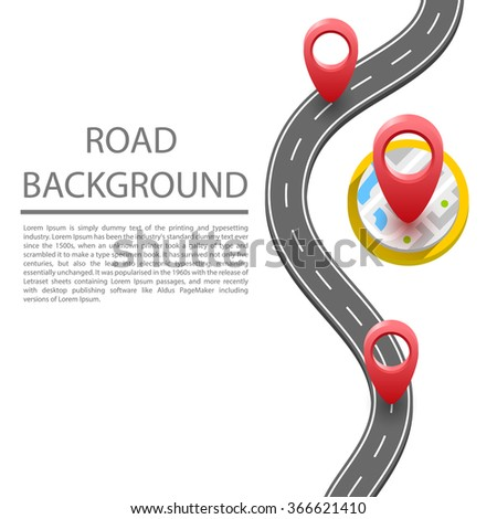 The paved path on the road, undulating, winding road. Vector background