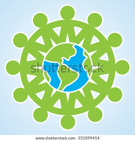 The people are holding their hands to each other around the planet Earth. vector unity eco icon isolated illustration element - stock vector