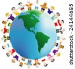 The peoples of different nationalities are keeping for hands around the Earth - stock vector