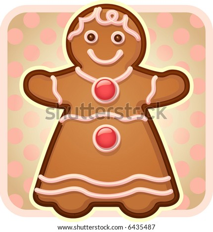 The perfect gingerbread girl! - stock vector