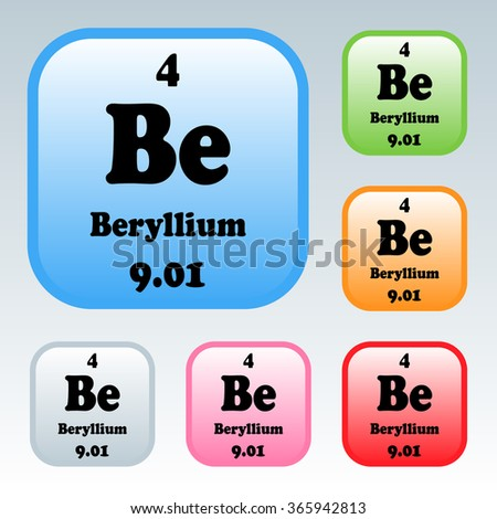 Periodic table elements beryllium stock vector 365942813 shutterstock the periodic table of the elements beryllium urtaz Choice Image