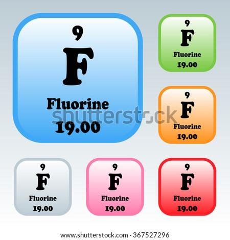 Periodic Table Elements Fluorine Stock Vector 367527296 Shutterstock