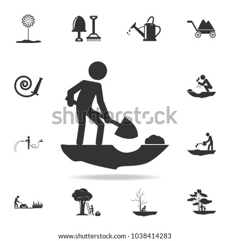 the person is digging icon. Detailed set of garden tools and agriculture icons. Premium quality graphic design. One of the collection icons for websites, web design, mobile app on white background