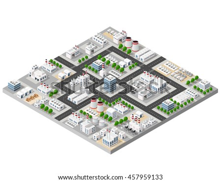 The perspective view of the landscape of industrial objects plants, factories, parking lots and warehouses. Isometric top view the city with streets, buildings and trees. 3D city construction industry