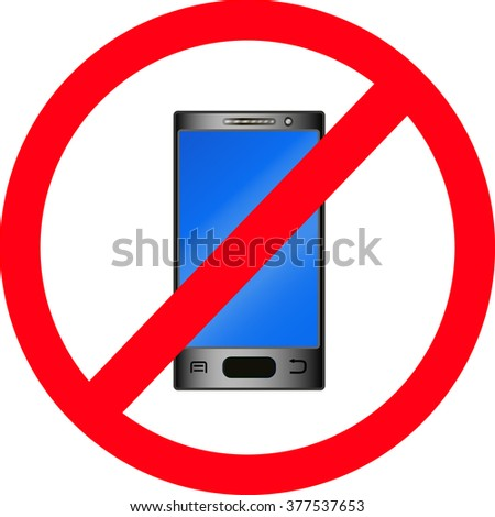 the phone is forbidden, black touchscreen phone and blue screen, vector