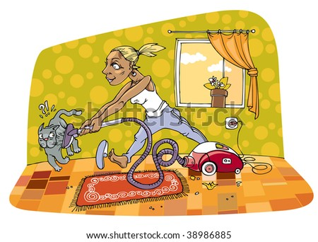 The picture is about housewife who is cleaning a room with some passion and energy , But the gray cat isn't so lucky during her cleaning.