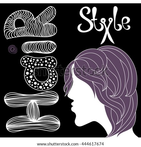 the picture of girl hair style hair - stock vector