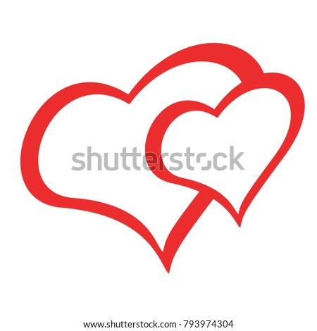the picture red double heart on white background for Valentine's day holiday. card best gift love is the second half. decorations for wedding