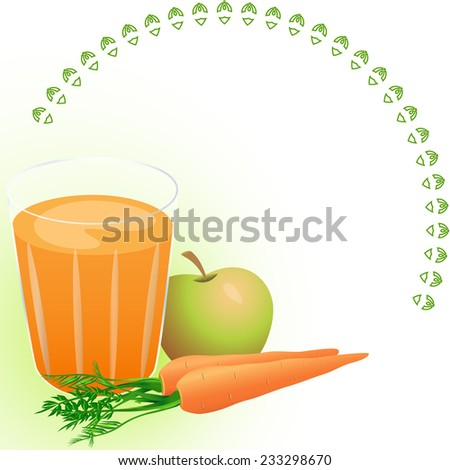 The picture shows a glass of carrot juice, amid fresh carrots and apple. Made on separate layers, there is a place for text.
