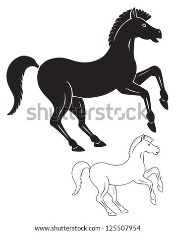The picture shows a horse