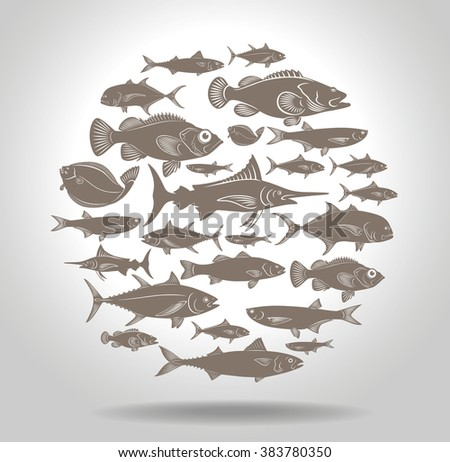 The picture shows a set of marine fish logo - stock vector