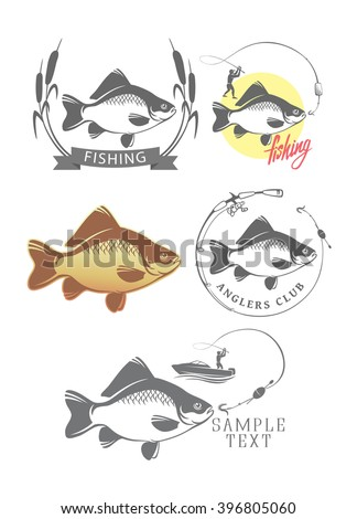 The picture shows the fishing logo  - stock vector