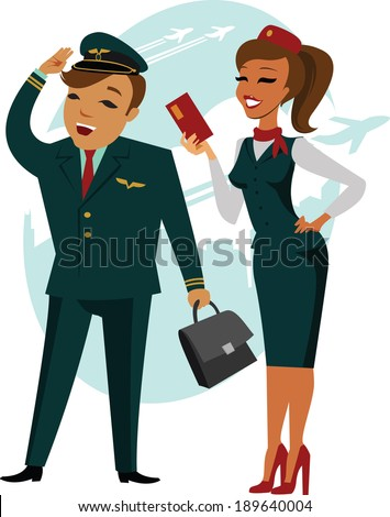 The pilot and stewardess - stock vector