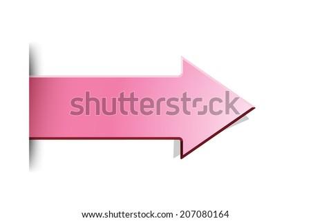 The pink arrow with hidden edge effect / The pink arrow / The arrow - stock vector